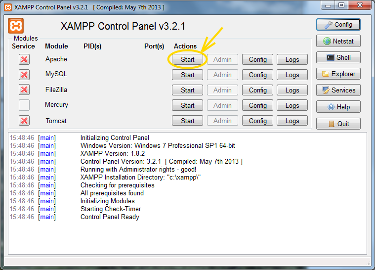 Xampp control panel before