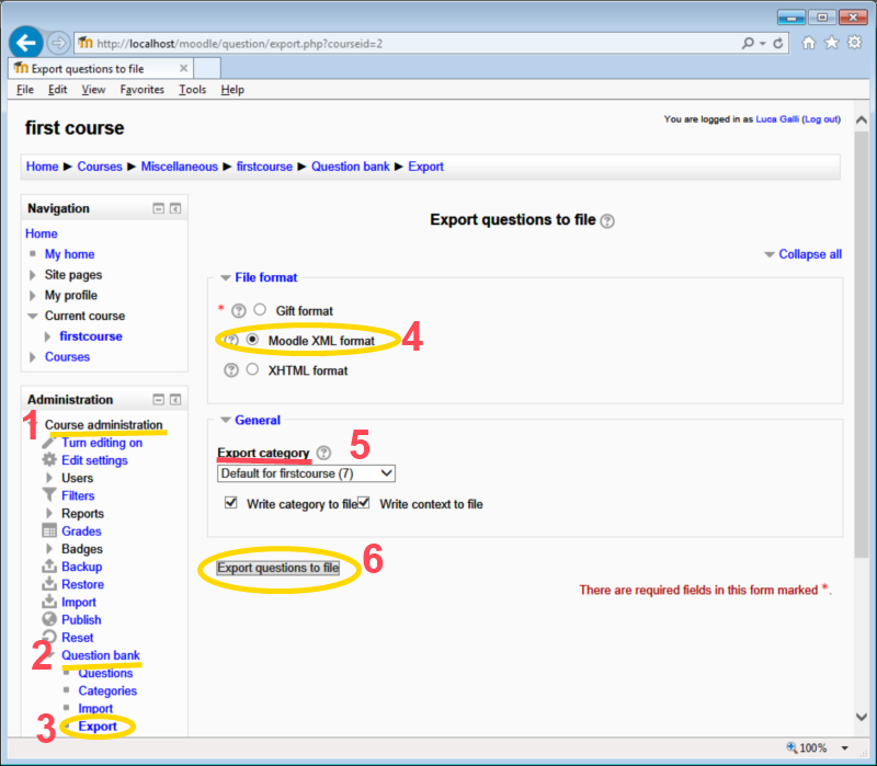 Moodle : import and export - QuizFaber